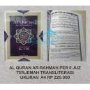 AL QURAN TERJEMAH TRANSLITERASI AR-RAHMAH PER 5 JUZ UKURAN A4