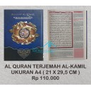 AL QURAN MUSHAF AL KAMIL TERJEMAH UKURAN A4  21 X 29,5 CM