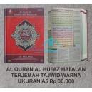 Al QURAN AL HUFAZ HAFALAN TERJEMAH TAJWID WARNA UKURAN A5 (15 X 20 CM)